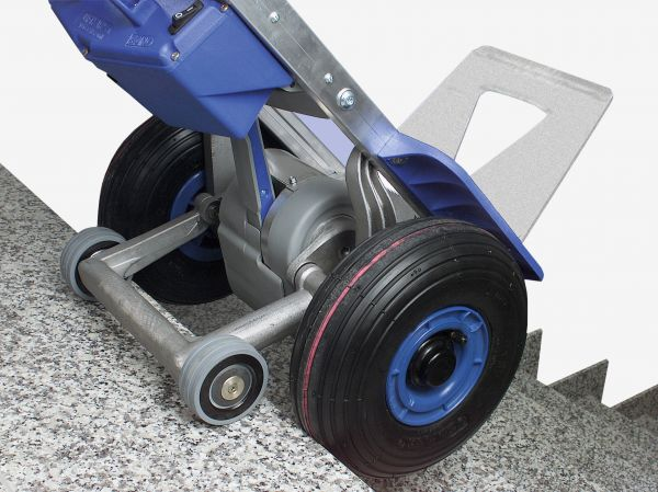 pivot arm with forward-braked support wheels.