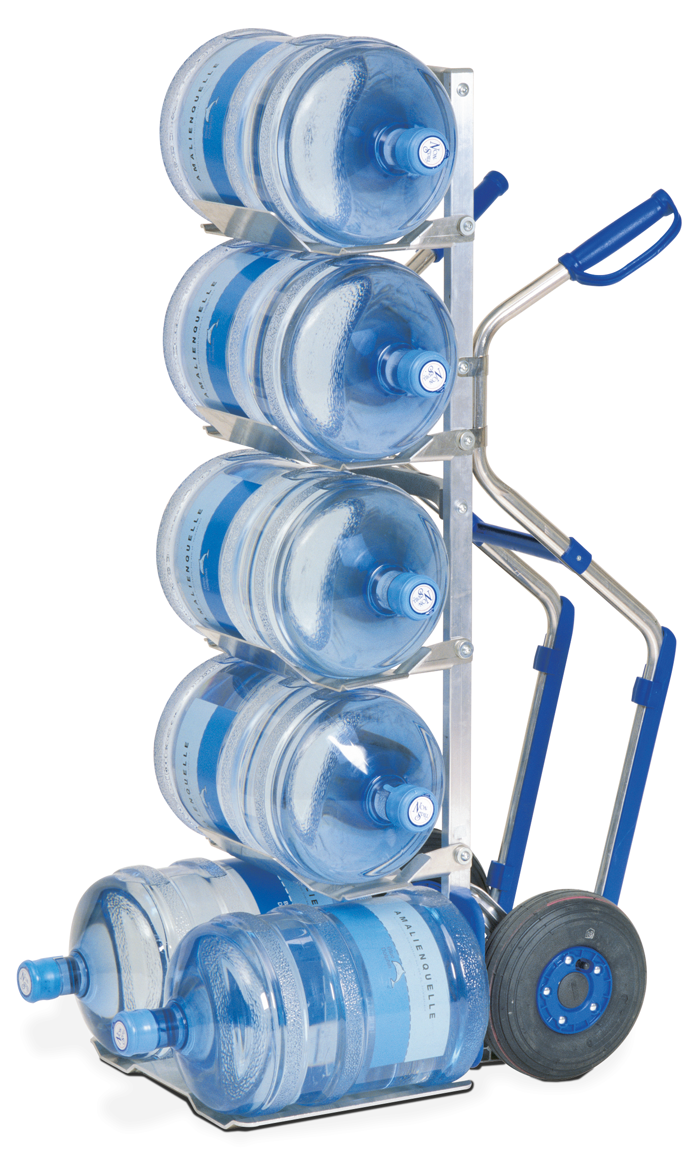 MODULKAR Water bottle truck with pistol grips and stair gliders for up to 6 water bottles