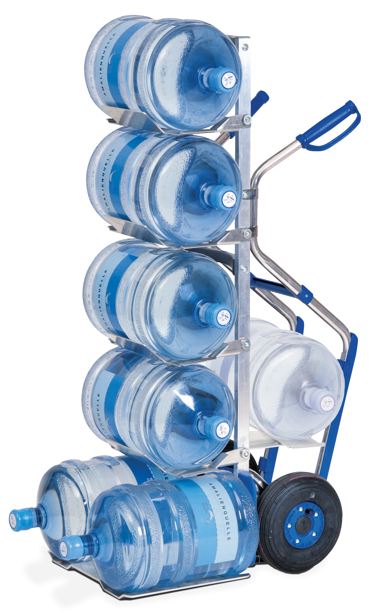 MODULKAR Water bottle truck with pistol grips and stair gliders for up to 7 water bottles