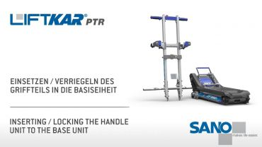 LIFTKAR PTR tracked stairclimber - Inserting/Locking the handle unit to the base unit